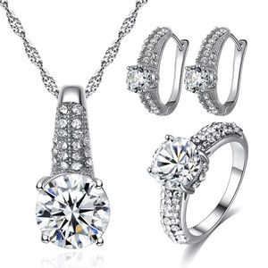 Set CZ Crystal Necklace/Earrings/Ring Size 6